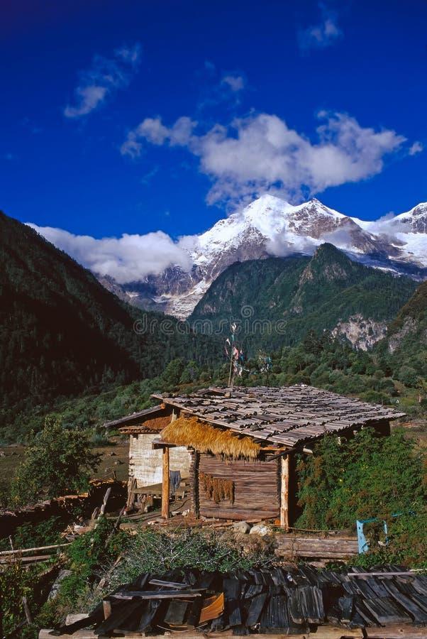 χιόνι shangri βουνών κούτσουρων & στοκ φωτογραφία