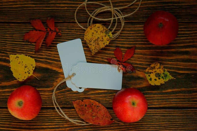 Χλεύη επάνω, άσπρες ετικέτες, φύλλα του εγγράφου με τα κόκκινα μήλα με τα κίτρινα και κόκκινα φύλλα φθινοπώρου στο ξύλινο βουρτσι στοκ εικόνες