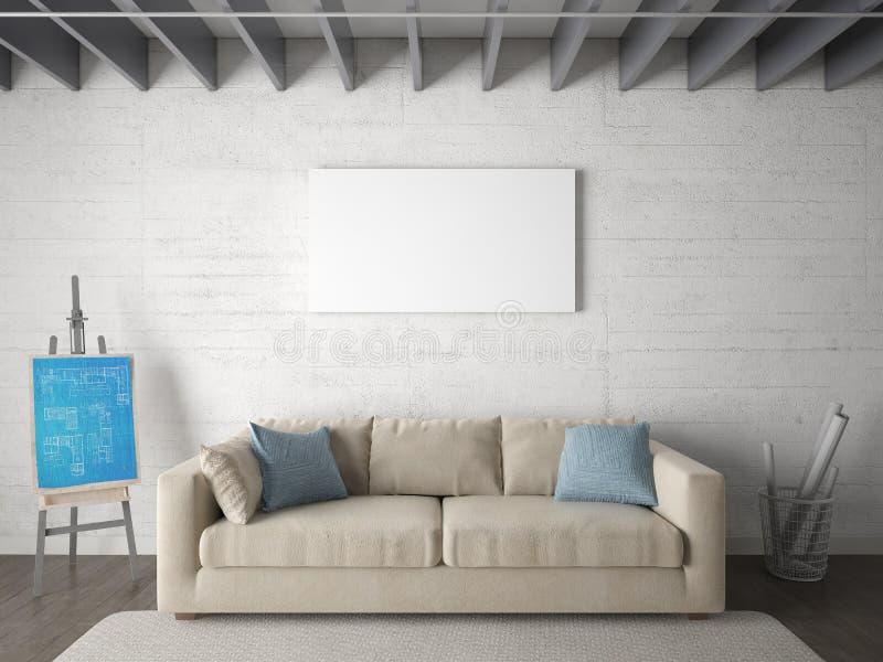 Χλεύη επάνω ένα σύγχρονο καθιστικό με έναν αποκλειστικό καναπέ ελεύθερη απεικόνιση δικαιώματος