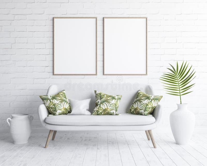 Χλεύη επάνω στα πλαίσια στο εσωτερικό καθιστικών με τον άσπρο καναπέ στον άσπρο τουβλότοιχο, Σκανδιναβικό ύφος απεικόνιση αποθεμάτων
