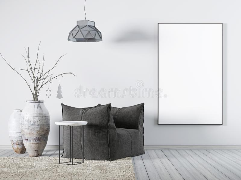 Χλεύη επάνω στην αφίσα στην εσωτερική άσπρη πολυθρόνα υφάσματος καθιστικών, ένα τραπεζάκι σαλονιού και ένα μεγάλο βάζο διανυσματική απεικόνιση
