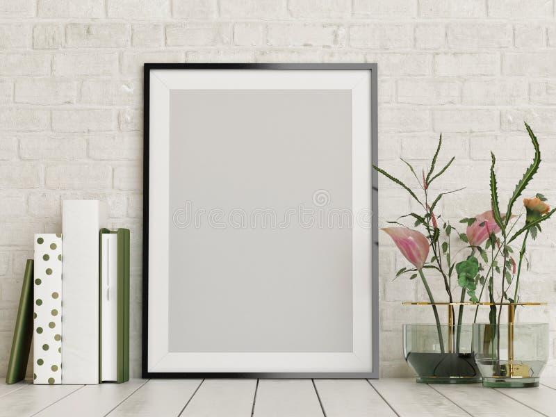 Χλεύη επάνω στην αφίσα, κενό πλαίσιο με τα λουλούδια και ντεκόρ βιβλίων, διανυσματική απεικόνιση
