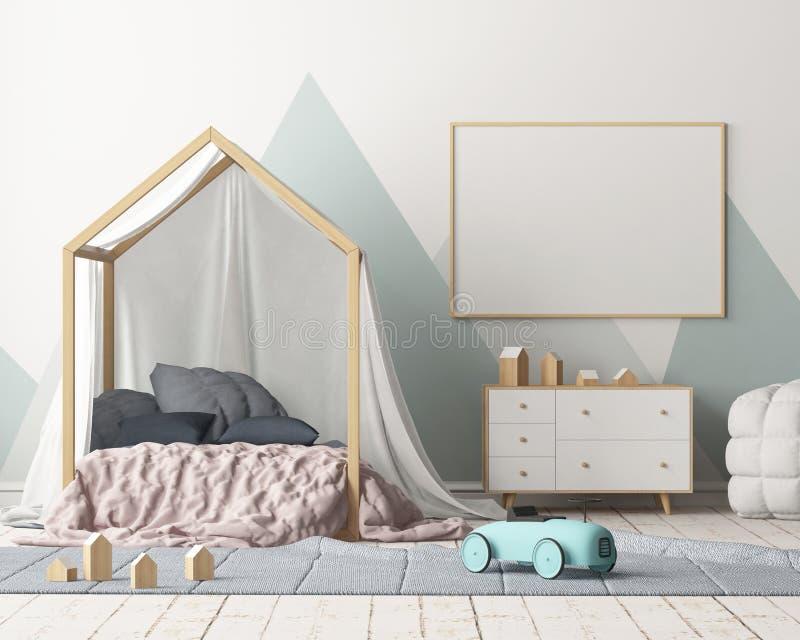 Χλεύη επάνω στην αφίσα στην κρεβατοκάμαρα παιδιών ` s με έναν θόλο Σκανδιναβικό ύφος τρισδιάστατος απεικόνιση αποθεμάτων