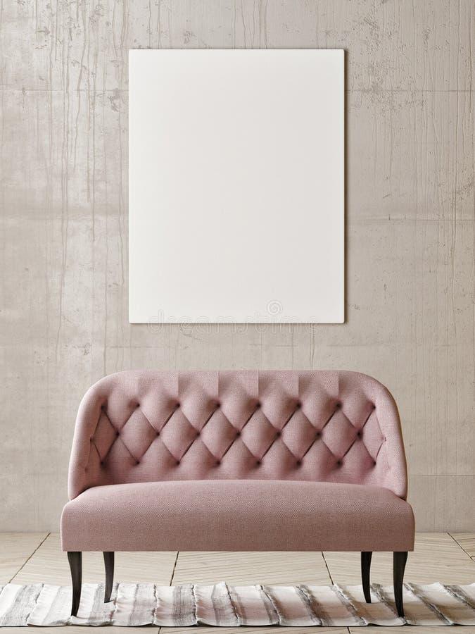 Χλεύη επάνω στην αφίσα με το ροδαλό καναπέ στο κενό δωμάτιο ελεύθερη απεικόνιση δικαιώματος