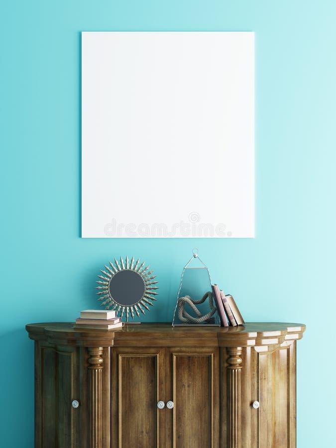 Χλεύη επάνω στην αφίσα πέρα από ένα στήθος των συρταριών σε ένα μπλε υπόβαθρο τοίχων διανυσματική απεικόνιση