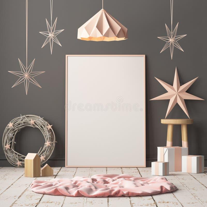 Χλεύη επάνω στην αφίσα στο εσωτερικό Χριστουγέννων στο Σκανδιναβικό ύφος τρισδιάστατη απόδοση ελεύθερη απεικόνιση δικαιώματος