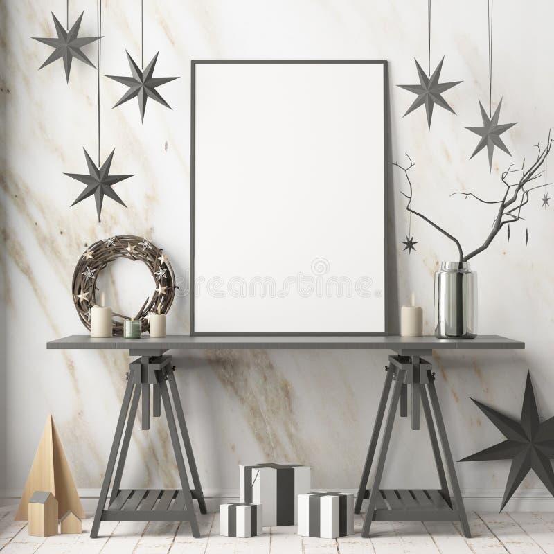 Χλεύη επάνω στην αφίσα στο εσωτερικό Χριστουγέννων στο Σκανδιναβικό ύφος τρισδιάστατη απόδοση απεικόνιση αποθεμάτων