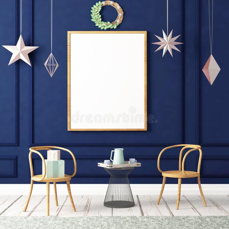 Χλεύη επάνω στην αφίσα στο εσωτερικό Χριστουγέννων τρισδιάστατη απεικόνιση τρισδιάστατος δώστε στοκ εικόνα