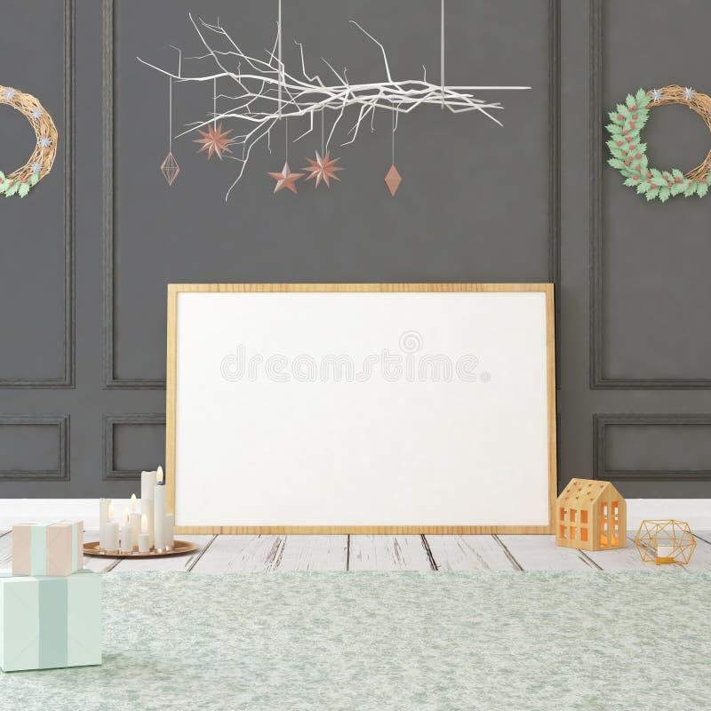 Χλεύη επάνω στην αφίσα στο εσωτερικό Χριστουγέννων τρισδιάστατη απεικόνιση τρισδιάστατος δώστε στοκ εικόνα με δικαίωμα ελεύθερης χρήσης