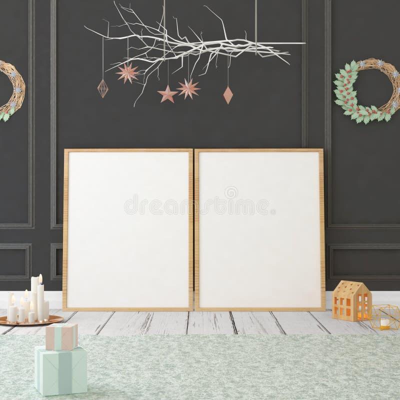 Χλεύη επάνω στην αφίσα στο εσωτερικό Χριστουγέννων τρισδιάστατη απεικόνιση τρισδιάστατος δώστε στοκ φωτογραφία με δικαίωμα ελεύθερης χρήσης