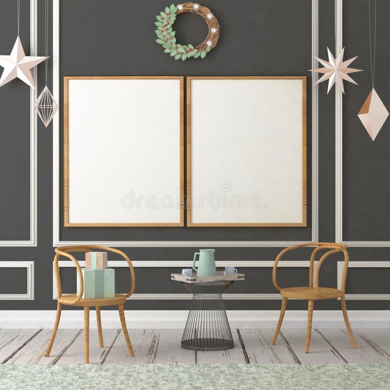 Χλεύη επάνω στην αφίσα στο εσωτερικό Χριστουγέννων τρισδιάστατη απεικόνιση τρισδιάστατος δώστε στοκ φωτογραφίες με δικαίωμα ελεύθερης χρήσης