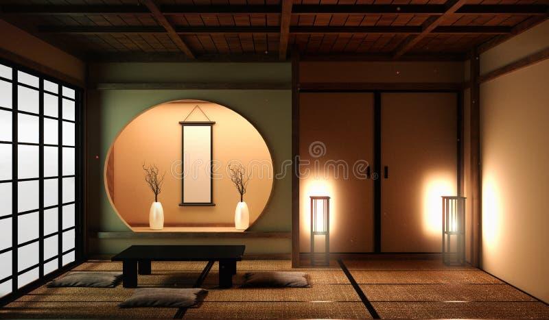 Χλεύη επάνω στην περιοχή διαβίωσης ύφους της Ιαπωνίας στο δωμάτιο πολυτέλειας ή την ιαπωνική διακόσμηση ύφους ξενοδοχείων r ελεύθερη απεικόνιση δικαιώματος