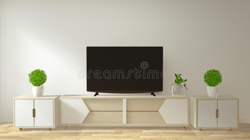 Χλεύη επάνω στο γραφείο TV και επίδειξη με το ελάχιστο σχέδιο δωματίων και το ιαπωνικό ύφος decoraion r ελεύθερη απεικόνιση δικαιώματος