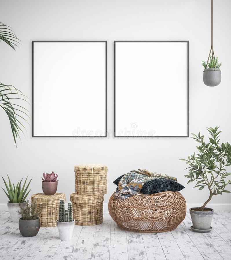 Χλεύη επάνω στο εσωτερικό υπόβαθρο πλαισίων αφισών, Σκανδιναβικό ύφος στοκ εικόνα με δικαίωμα ελεύθερης χρήσης