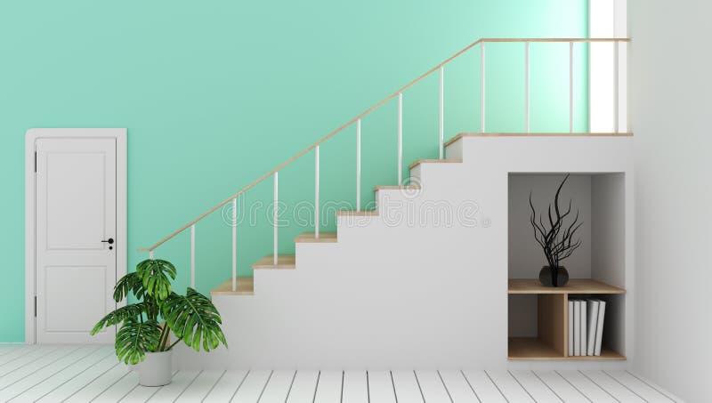 Χλεύη επάνω στο κενό δωμάτιο μεντών με τη σκάλα και τη διακόσμηση, σύγχρονο ύφος zen r ελεύθερη απεικόνιση δικαιώματος