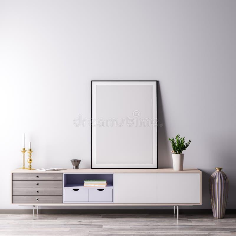 Χλεύη επάνω στο πλαίσιο αφισών στο εσωτερικό δωμάτιο με το άσπρο wal, σύγχρονο ύφος, τρισδιάστατη απεικόνιση ελεύθερη απεικόνιση δικαιώματος