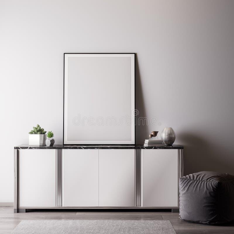 Χλεύη επάνω στο πλαίσιο αφισών στο εσωτερικό δωμάτιο με το άσπρο wal, σύγχρονο ύφος, τρισδιάστατη απεικόνιση στοκ εικόνα