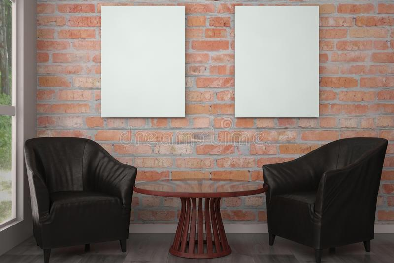 Χλεύη επάνω στο πλαίσιο αφισών στο εσωτερικό με τις μαύρες καρέκλες τρισδιάστατο illustrat στοκ φωτογραφία με δικαίωμα ελεύθερης χρήσης
