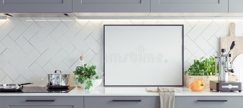 Χλεύη επάνω στο πλαίσιο αφισών στο εσωτερικό, Σκανδιναβικό ύφος κουζινών, πανοραμικό υπόβαθρο στοκ εικόνες με δικαίωμα ελεύθερης χρήσης