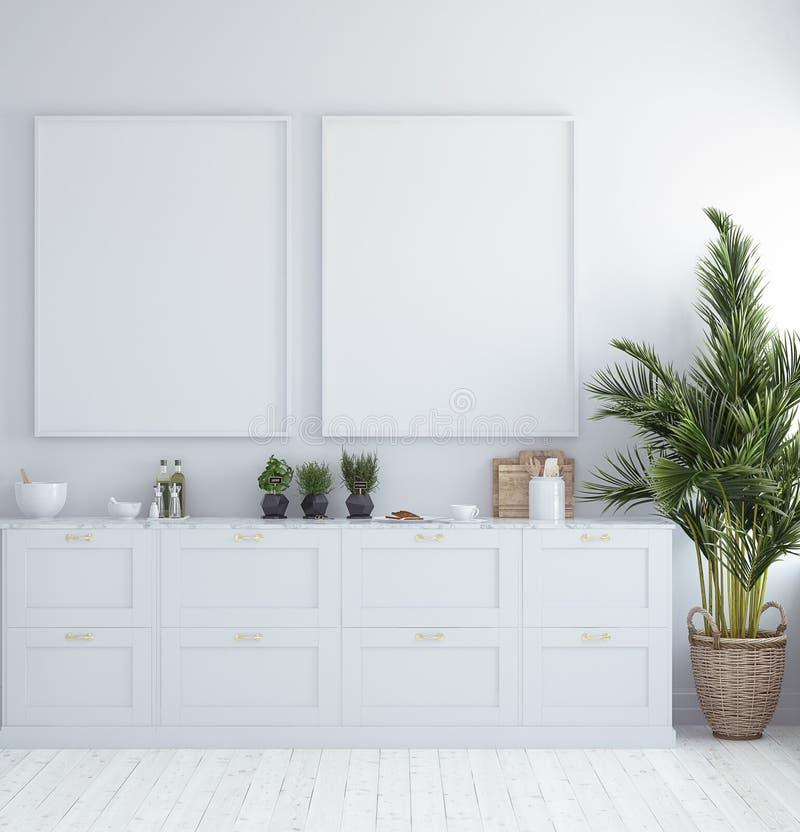 Χλεύη επάνω στο πλαίσιο αφισών στο εσωτερικό, Σκανδιναβικό ύφος κουζινών απεικόνιση αποθεμάτων