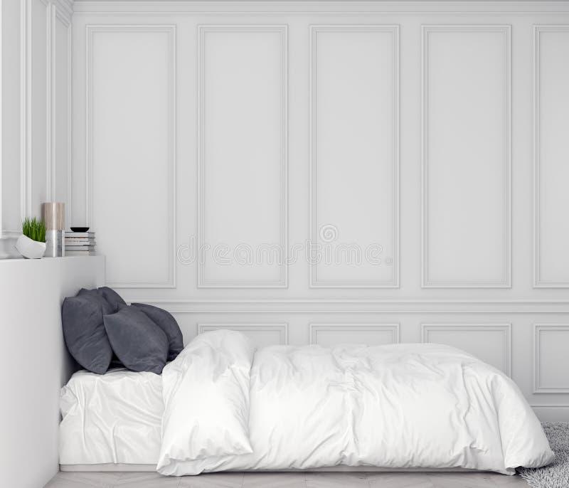 Χλεύη επάνω στο πλαίσιο αφισών στο εσωτερικό υπόβαθρο κρεβατοκάμαρων με τον κλασικό τοίχο, τρισδιάστατη απεικόνιση στοκ φωτογραφία με δικαίωμα ελεύθερης χρήσης