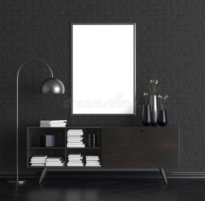 Χλεύη επάνω στο πλαίσιο αφισών στο κομψό εσωτερικό τρισδιάστατη απεικόνιση διανυσματική απεικόνιση