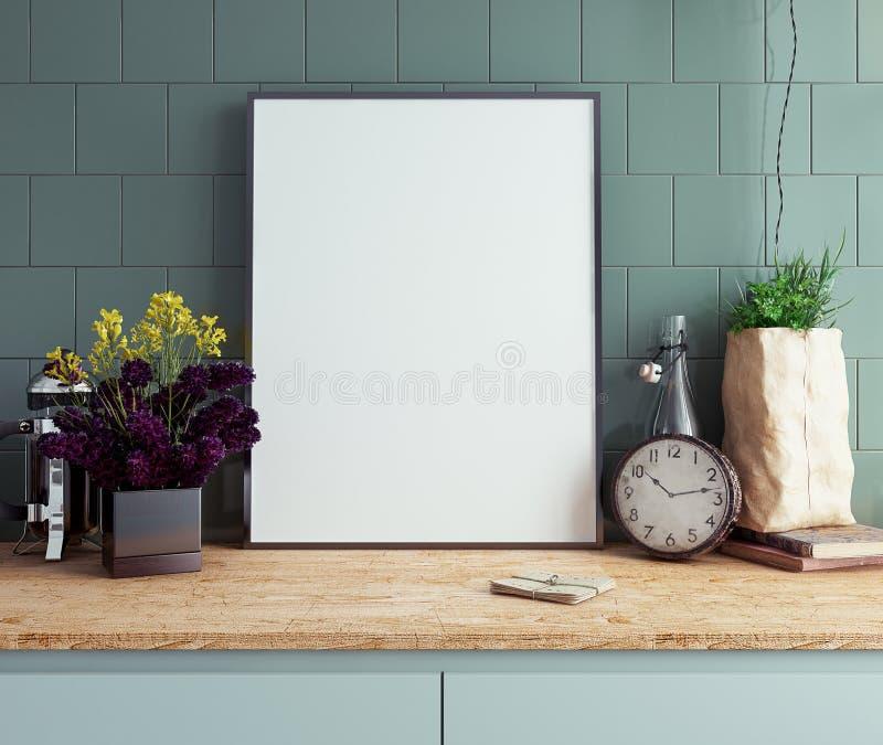 Χλεύη επάνω στο πλαίσιο αφισών στην εσωτερική κινηματογράφηση σε πρώτο πλάνο υποβάθρου κουζινών στοκ φωτογραφία με δικαίωμα ελεύθερης χρήσης