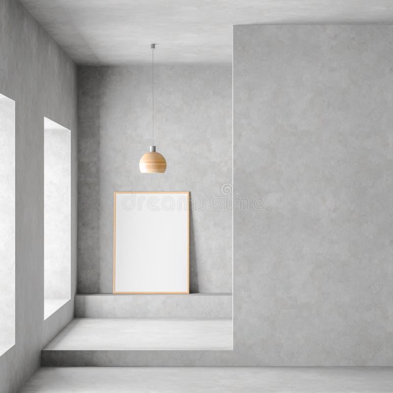 Χλεύη επάνω στο πλαίσιο αφισών στο σύγχρονο, ευρύχωρο δωμάτιο με τους συμπαγείς τοίχους Μινιμαλιστικό σύγχρονο σχέδιο δωματίων r ελεύθερη απεικόνιση δικαιώματος
