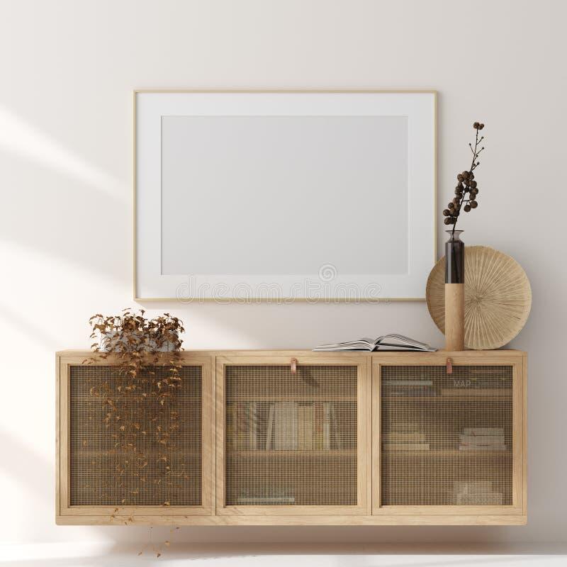 Χλεύη επάνω στο πλαίσιο στο εγχώριο εσωτερικό υπόβαθρο, μπεζ δωμάτιο με τα φυσικά ξύλινα έπιπλα, Σκανδιναβικό ύφος στοκ εικόνα με δικαίωμα ελεύθερης χρήσης