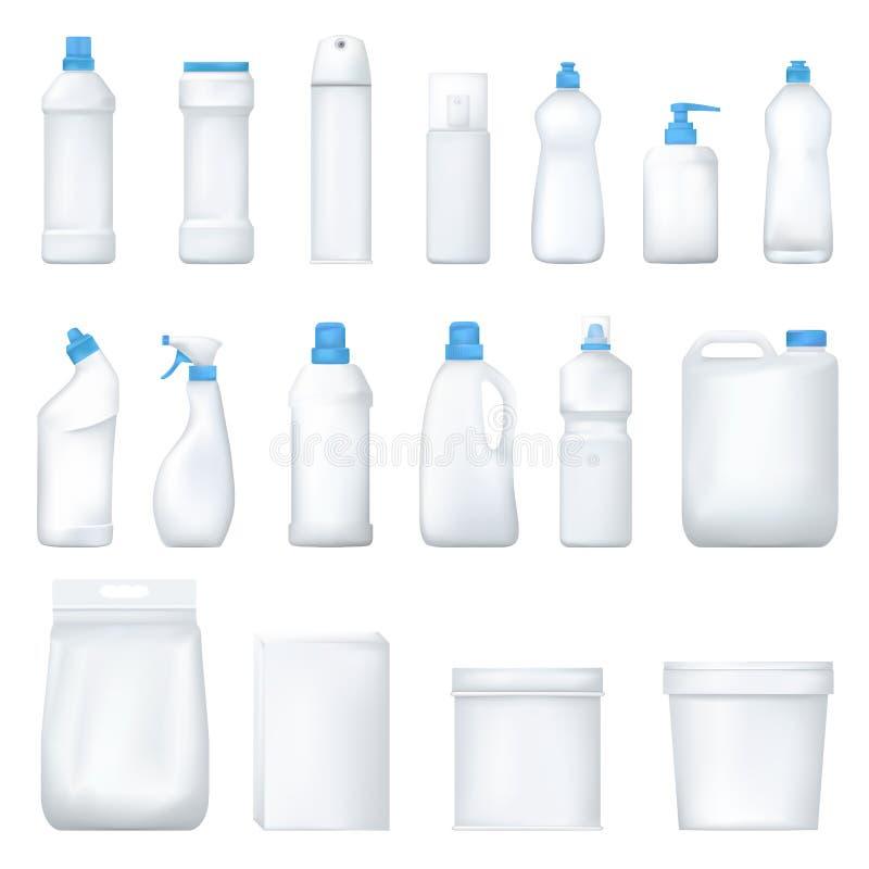 Χλεύη επάνω στο πλαστικό μπουκάλι και packge Σύνολο ρεαλιστικού καθαριστικού προϊόντος Οικιακές χημικές ουσίες διάνυσμα διανυσματική απεικόνιση