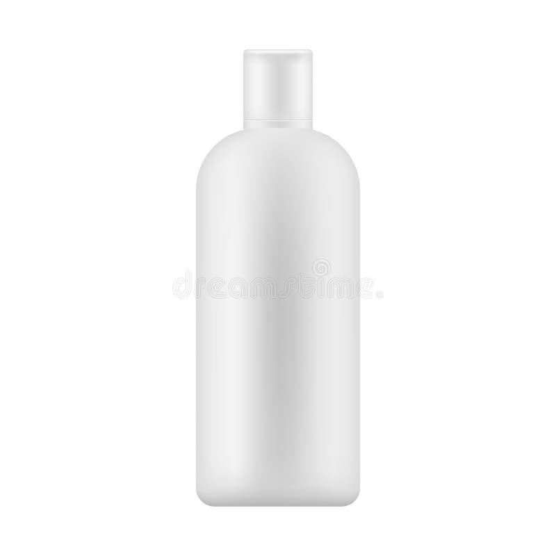Χλεύη επάνω του άσπρου πλαστικού μπουκαλιού με την ΚΑΠ για το λοσιόν σωμάτων, σαμπουάν, γάλα για τη φροντίδα δέρματος επίσης core διανυσματική απεικόνιση