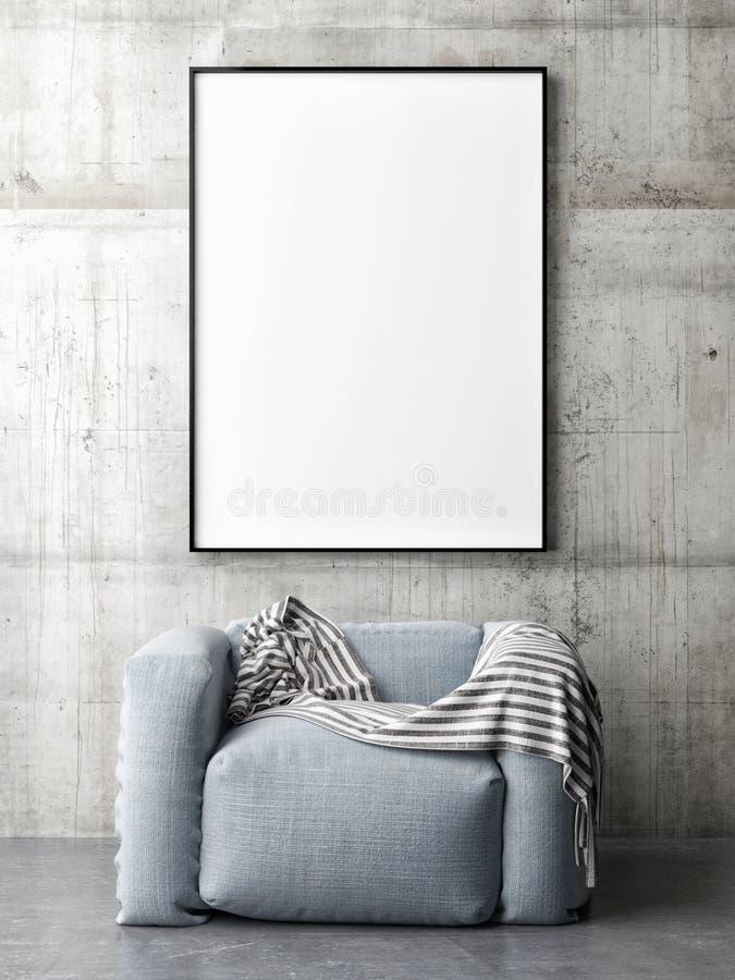 Χλεύη καμβά επάνω στην αφίσα με την άνετη καρέκλα, διανυσματική απεικόνιση