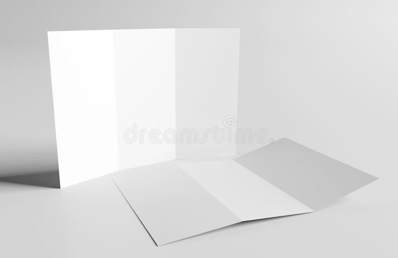 Χλεύη φυλλάδιων Trifold επάνω - τρισδιάστατη απόδοση απεικόνιση αποθεμάτων