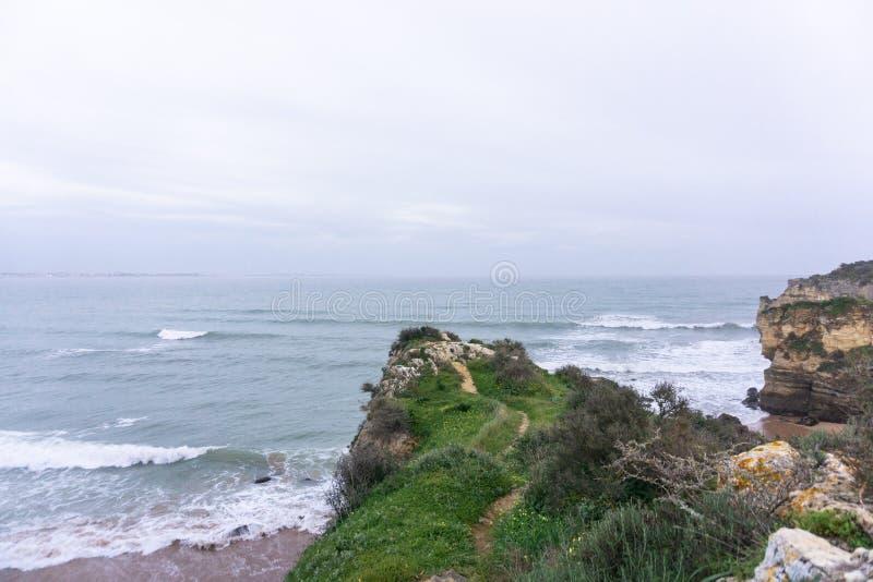 Χλοώδης ωκεάνια διάβαση απότομων βράχων στοκ φωτογραφίες με δικαίωμα ελεύθερης χρήσης
