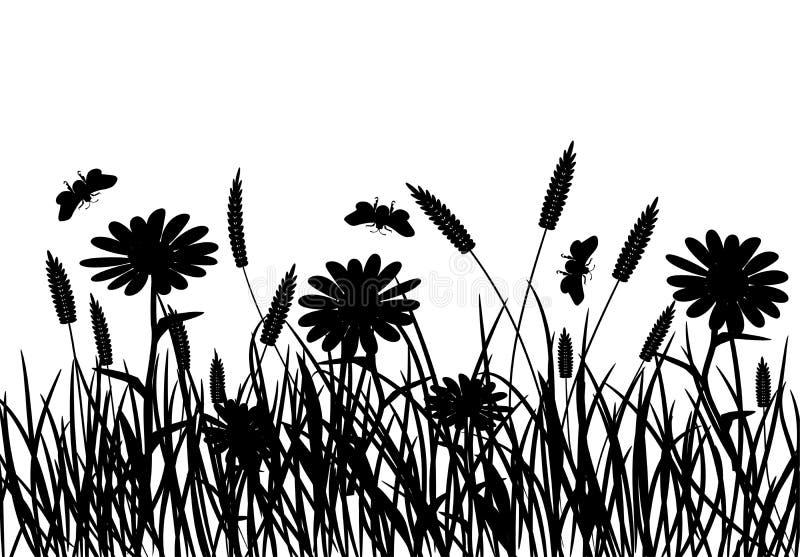 Χλόη και λουλούδι, διάνυσμα ελεύθερη απεικόνιση δικαιώματος