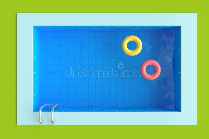 Χλόη και πισίνα με τους φωτεινούς κύκλους r στοκ εικόνα
