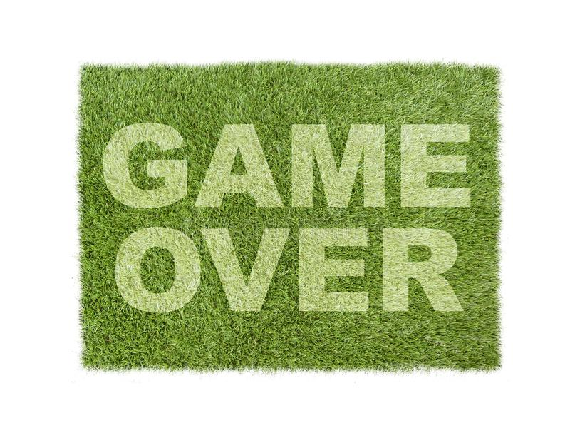 Χλόη που απομονώνεται πράσινη στο λευκό με το παιχνίδι πέρα από τον τίτλο στοκ εικόνα με δικαίωμα ελεύθερης χρήσης