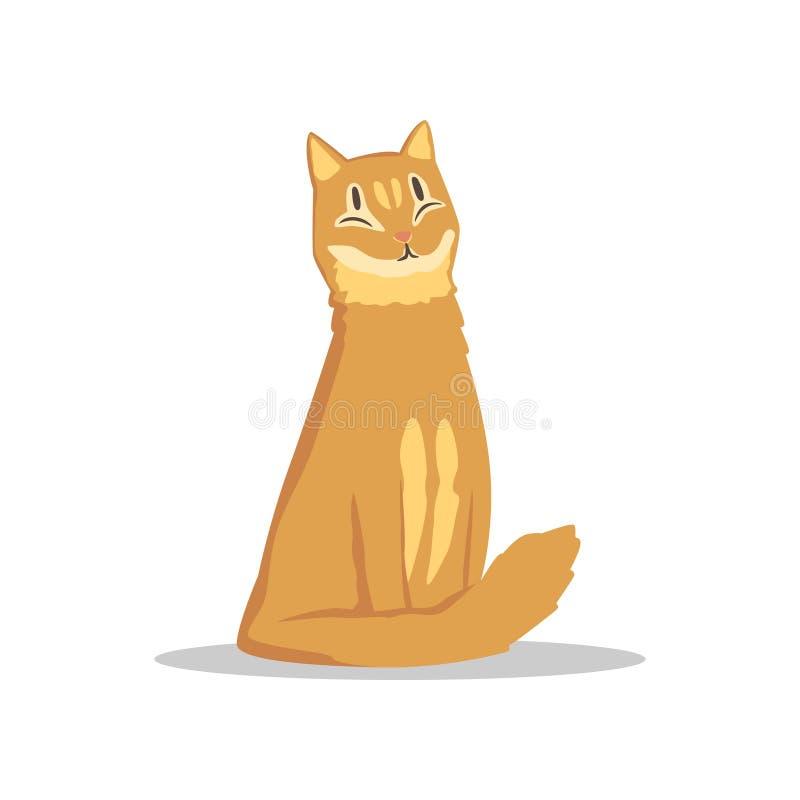 Χνουδωτή κοκκινομάλλης συνεδρίαση γατών με το ευτυχές ρύγχος Χαρακτήρας κατοικίδιων ζώων κινούμενων σχεδίων Επίπεδο διανυσματικό  απεικόνιση αποθεμάτων