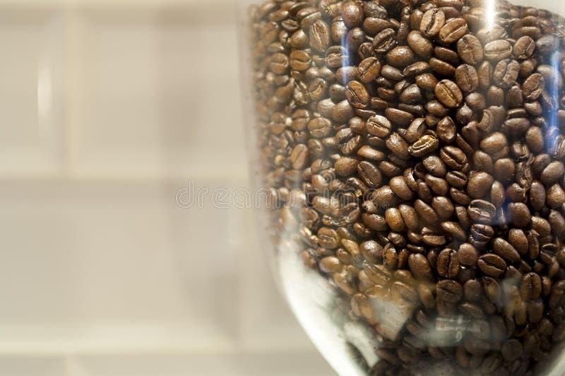 Χοάνη φασολιών που γεμίζουν με τα ψημένα φασόλια καφέ με το διάστημα αντιγράφων στοκ εικόνα
