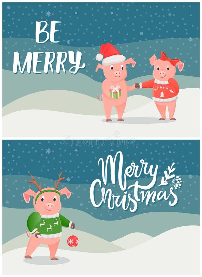 Χοίροι καρτών Χαρούμενα Χριστούγεννας στο χιονώδες τοπίο απεικόνιση αποθεμάτων