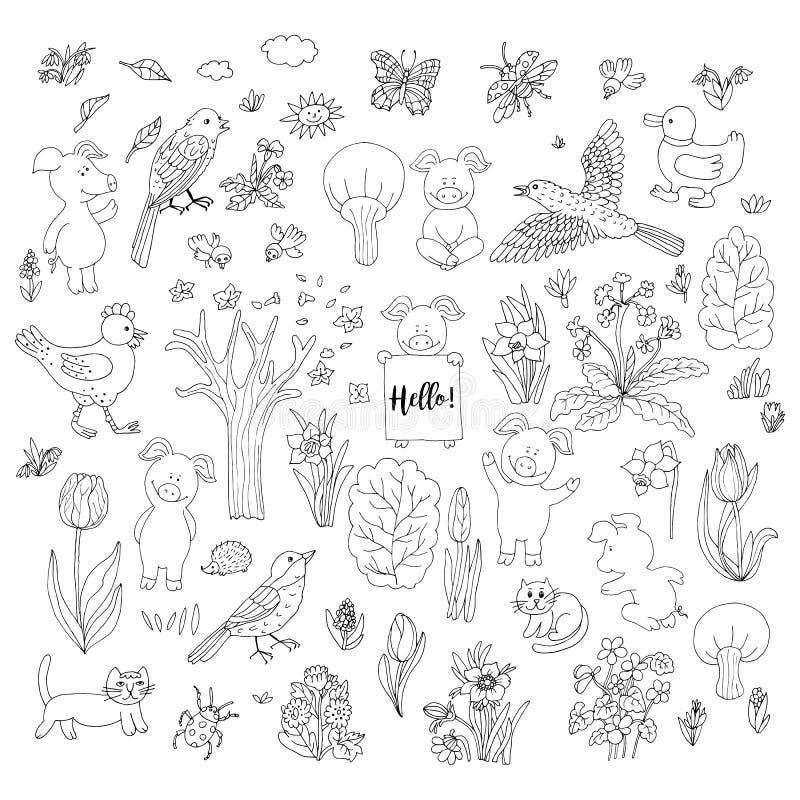 Χοίροι, πουλιά, σύνολο συλλογής λουλουδιών Καθορισμένο έμβλημα καλή χρονιά γ διανυσματική απεικόνιση