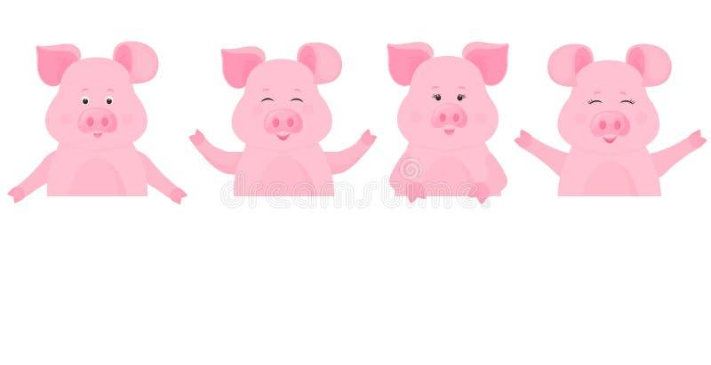 Χοίροι που κρατούν ένα κενό σημάδι, καθαρός πίνακας διαφημίσεων Θέση για το κείμενό σας χαριτωμένος piggy διανυσματική απεικόνιση