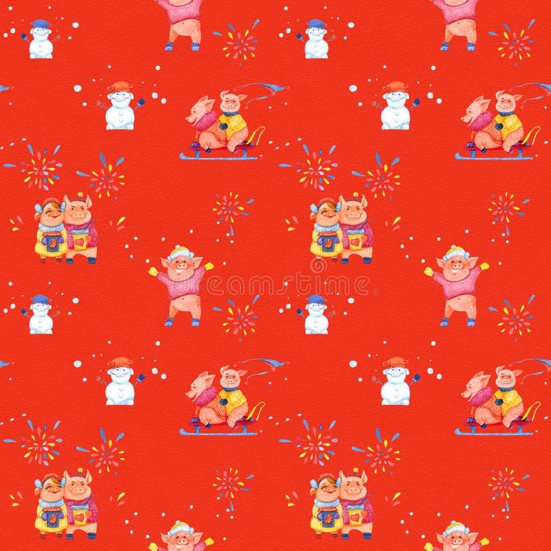 Χοίροι χειμερινών διακοπών σειράς απεικόνισης Άνευ ραφής σχέδιο Χριστουγέννων απεικόνιση αποθεμάτων
