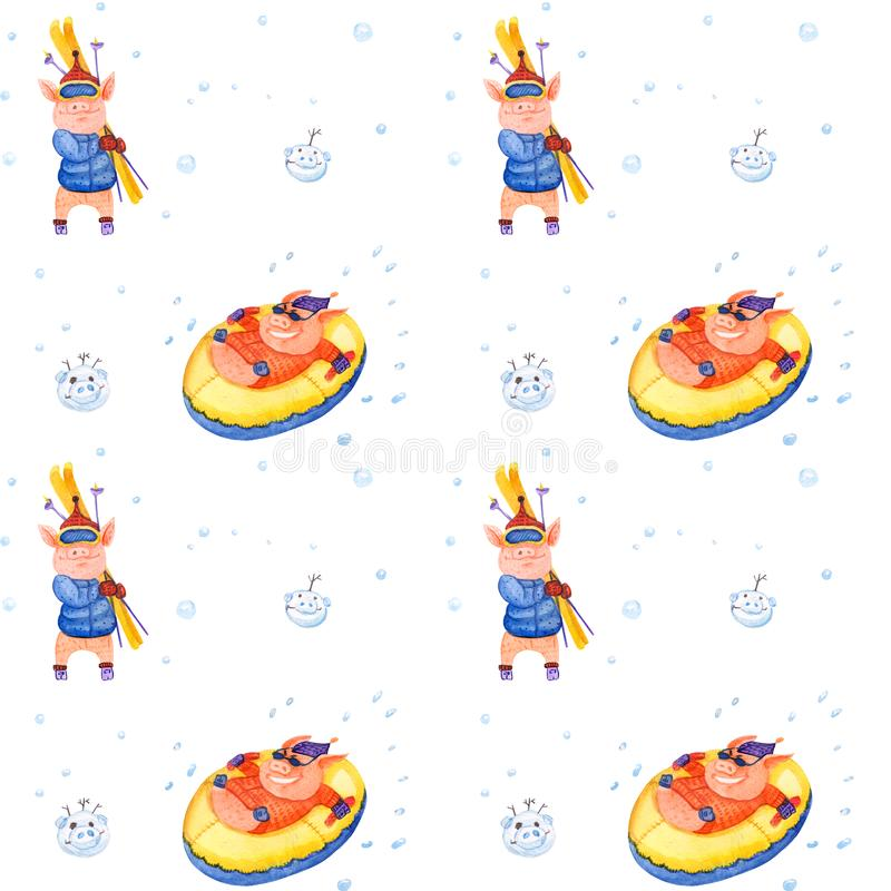 Χοίροι χειμερινών διακοπών σειράς απεικόνισης Άνευ ραφής σχέδιο Χριστουγέννων διανυσματική απεικόνιση