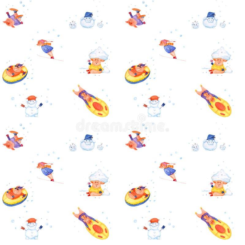 Χοίροι χειμερινών διακοπών σειράς απεικόνισης Άνευ ραφής σχέδιο Χριστουγέννων ελεύθερη απεικόνιση δικαιώματος