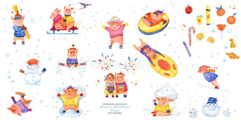 Χοίροι χειμερινών διακοπών σειράς απεικόνισης Όλοι οι χοίροι χειμερινής διασκέδασης διανυσματική απεικόνιση