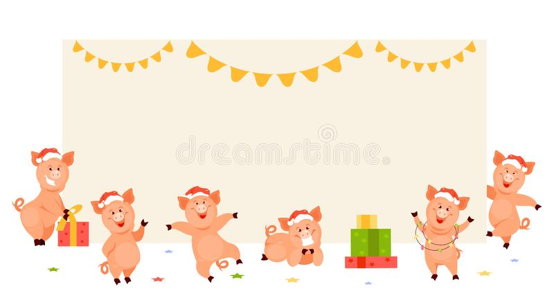 Χοίροι Χριστουγέννων στο κενό έμβλημα διανυσματική απεικόνιση