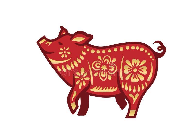 Χοίρος για τον ευτυχή κινεζικό νέο εορτασμό έτους στο κόκκινο και χρυσό χρώμα με τη σκοτεινή περίληψη επίσης corel σύρετε το διάν ελεύθερη απεικόνιση δικαιώματος