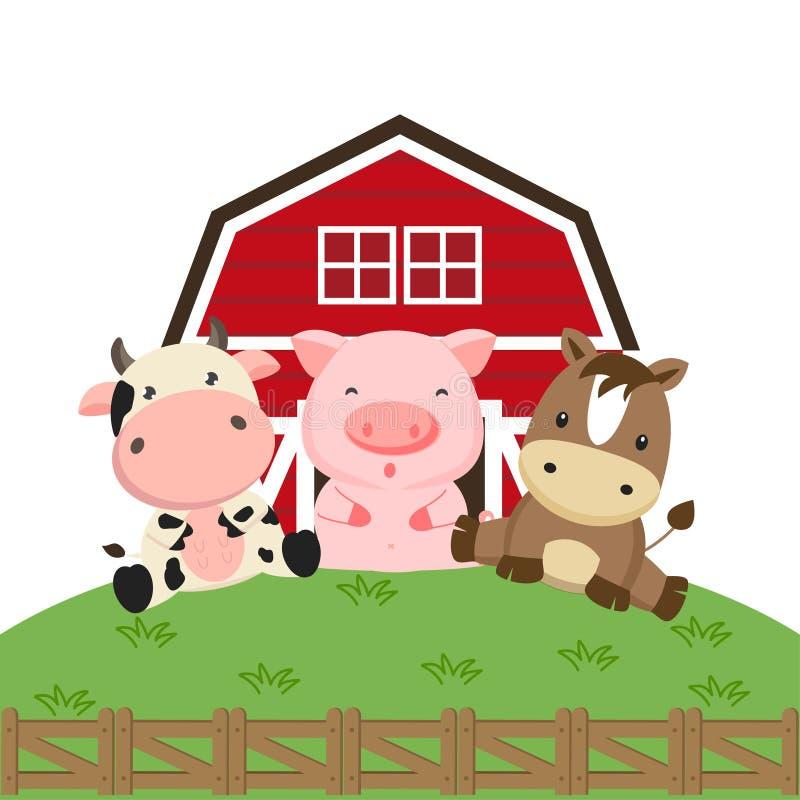Χοίρος και άλογο αγελάδων στο αγρόκτημα ελεύθερη απεικόνιση δικαιώματος