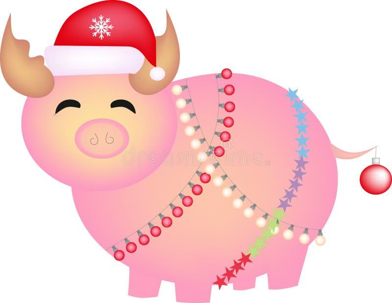 Χοίρος, νέο έτος, σύμβολο, κάπρος, γουρούνι, χοίροι, χαριτωμένος, διανυσματικοί, καπέλο, γιρλάντα, Χριστούγεννα, κτήνος, ζώο, ροζ διανυσματική απεικόνιση